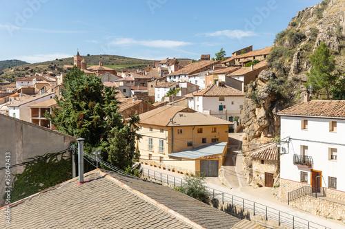 A View Over La Hoz De La Vieja Town Province Of Teruel Aragon