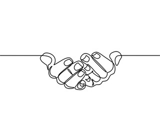 continuous line drawing of prayer hand. Hands palms together. Vector illustrations. - Vector