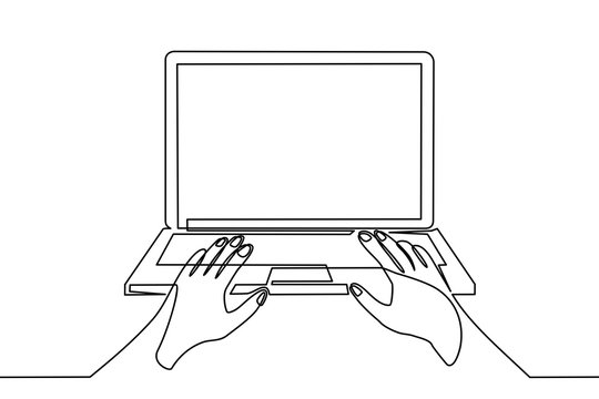 continuous line drawing of someone operating a computer - Vector