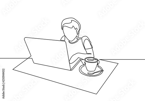 Continuous Line Drawing Of A Man Looking For Ideas In Front Of A