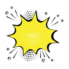 Empty yellow comic bubble for your text. Comic sound effects in pop art style. Vector illustration.
