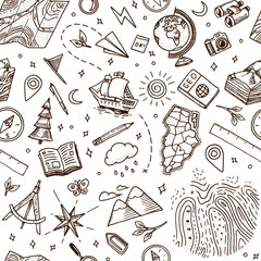 Geography symbols seamless pattern. Equipments for web banners background. Vintage outline sketch for web banners. Doodle style. Education concept. Back to school background. Hand drawn style.