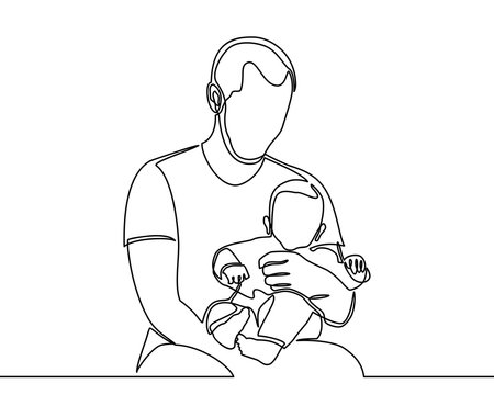 continuous line drawing of family, parenthood and people concept - happy father playing with little baby at home - vector