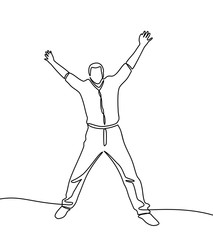 Continuous line drawing of man happy jumping in air. Vector