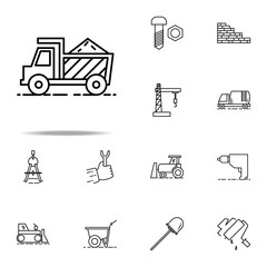 cargo with sand outline icon. Construction icons universal set for web and mobile