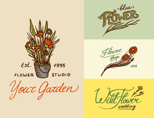 Flower shop emblems and Bright logo. Vintage bouquet. Gardening signs and beauty retro label. Hand drawn badges. Floral wedding templates.