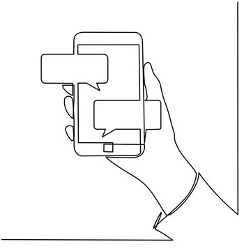 Continuous line drawing of hands that hold a modern mobile phone and receive messages that are isolated against a white background. Vector - Vector
