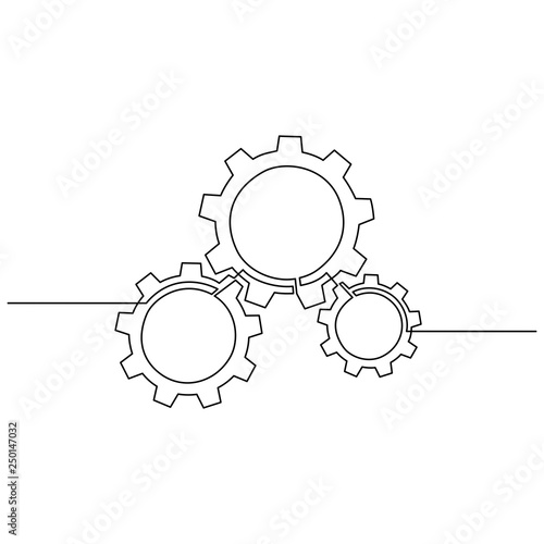 Continuous Line Drawing Of Gears Wheel Gears Are Drawn By A Single