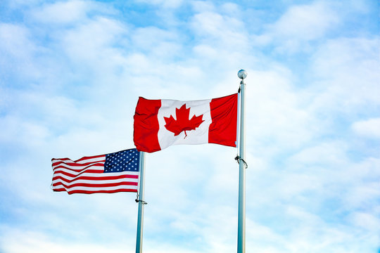 Canadian and American Flag together