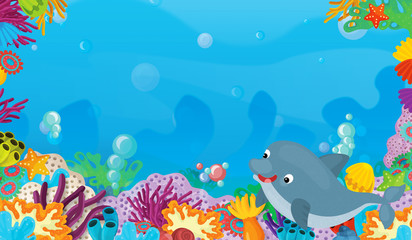 cartoon scene with coral reef with happy and cute fish swimming with frame space text dolphin - illustration for children