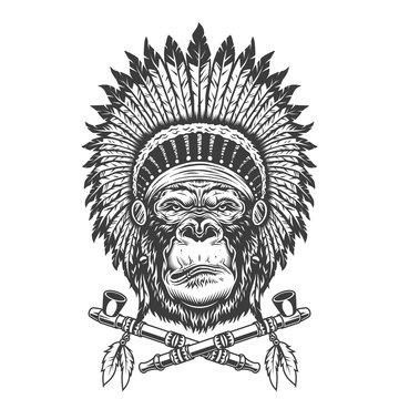 Native american indian chief gorilla head