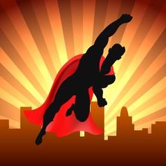 Superhero over city