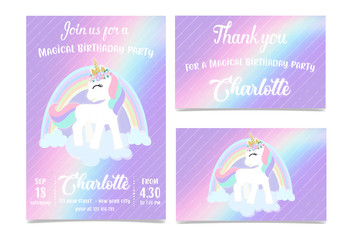 Custom vertical slats with your photo Unicorn Birthday Party Invitation