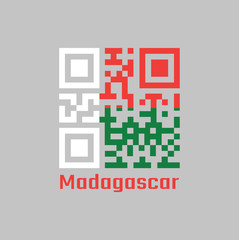 QR code set the color of Madagascar flag. Two horizontal bands of red and green with a white vertical band on the hoist side.