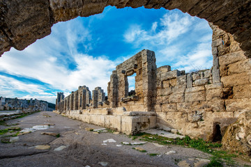 Antalya - Turkey. February 20, 2018. Perge Ancient City, Antalya - Turkey.Perge, located 19 km east of Antalya, used to be one of the most important cities of ancient Pamphylia.