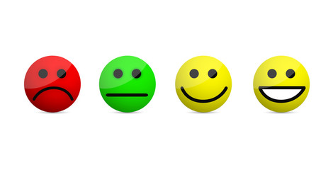 smiley faces levels icons illustration isolated over a white