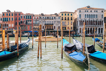 Venetian grand canal and old street in Italy