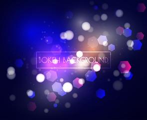 Blue Bokeh lights and glitter background Vector