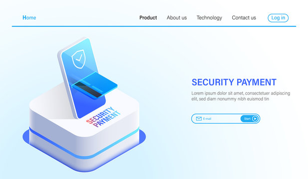 Isometric Security payment and data protection technology concept, online payment by smartphone and credit card with safety technology vector.