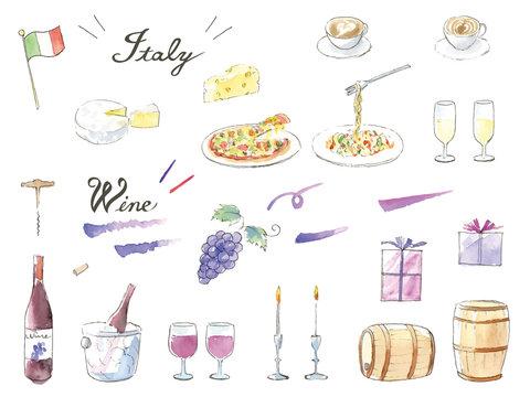 手描き水彩イラストセット イタリアン ワイン