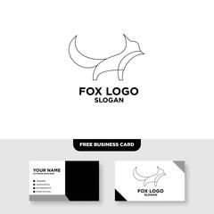 Fox outline line art monoline logo vector icon - Vector, Free Business Card Mockup