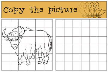 Educational game: Copy the picture. Cute beautiful yak.