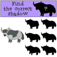Educational game: Find the correct shadow. Cute beautiful yak.