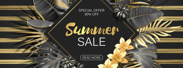 Sale. Rhombus summer sale tropical leaves frame on striped backdrop. Tropical flowers, leaves and plants background. Gold and black