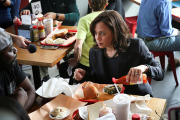 U.S. Senator and Democratic presidential hopeful Harris campaigns at a town hall meeting in Charleston