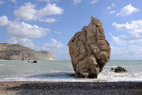 Love beach. Aphrodite's Rock - Aphrodite's birthplace near Paphos City. The rock of the Greek (Petra tou Romiou). Cyprus island