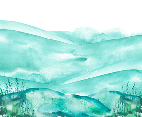 Watercolor blue hill, hillock, grass. Desert, sand. dry, wild grass, bush. winter landscape on white isolated background. The color splashing on the paper. Abstract blot, background.