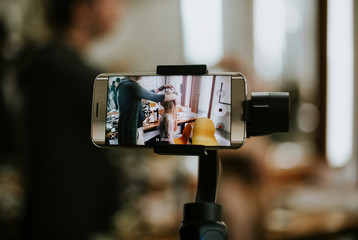 Smartphone attached to a gimbal