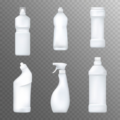 Realistic white plactic bottles. Household chemicals and liquid detergent package mock up. Vector.