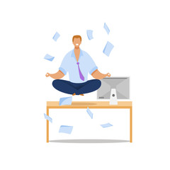Office Worker Meditating Flat Vector Illustration