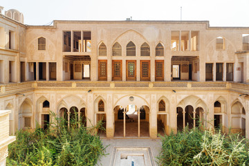 Scenic view of courtyard of Abbasi Historical House, Kashan, Iran