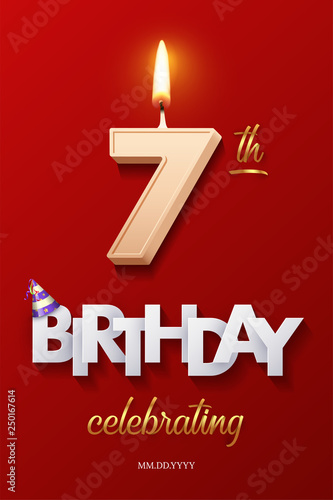 Burning Birthday Candle In The Form Of Number 7 Figure And Happy