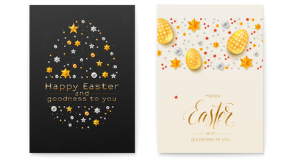 Easter decorative invitations. Festive pattern made from gold and silver stars and glittering pearls. Poster with handwritten greetings text. Chic vector greetings card for Church Easter holidays.