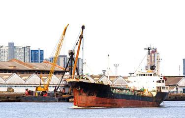 Cargo Ship at Estuary
