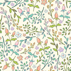 seamless pattern with spring flowers and plant branches