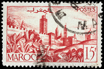 Walled town stamp