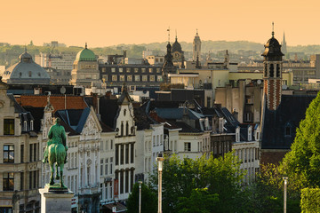 View over the old city of Brussels, Belgium, at sunset, beautiful european cityscape
