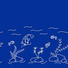 Underwater world, cute fish, plants. Seamless border . Vector hand drawn illustrations on blue background