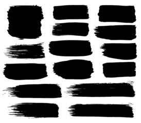 Collection of black paint, ink brush strokes, brushes, lines. Dirty artistic design elements, boxes, frames. Isolated on white background. Freehand drawing.