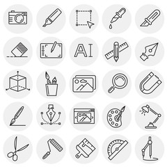 Graphic design line icons set on circles background for graphic and web design, Modern simple vector sign. Internet concept. Trendy symbol for website design web button or mobile app