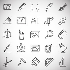 Graphic design line icons set on white background for graphic and web design, Modern simple vector sign. Internet concept. Trendy symbol for website design web button or mobile app