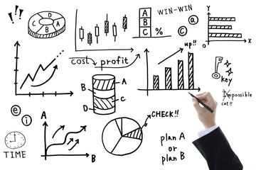 ビジネスイメージ―様々な手書きのグラフ・チャート