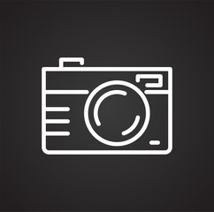 Camera line icon on black background for graphic and web design, Modern simple vector sign. Internet concept. Trendy symbol for website design web button or mobile app