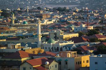 Aerial view to Hargeisa, biggest city of Somaliland Somalia Wall mural
