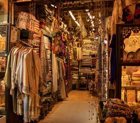 Colorful fabrics at the Grand Bazaar, Istanbul, Turkey