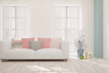 Colorful stylish minimalist room with sofa. Scandinavian interior design. 3D illustration
